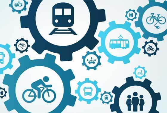 Symbolillustration für die Verzahnung von Bahn, Bus, Sharing, Rad und Fußmobilität