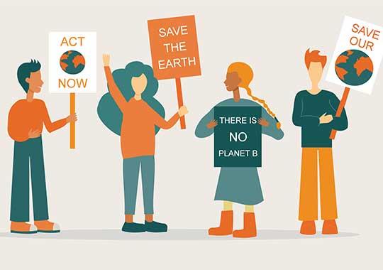 Gruppe von Aktist*innen demonstriert